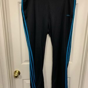 Women's Adidas black and blue track pants